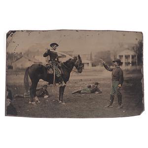 Civil War Outdoor Tintype of Armed Soldiers Interacting