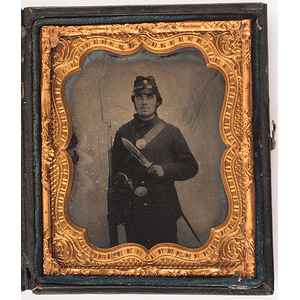 Civil War Sixth Plate Ruby Ambrotype of Triple-Armed Union Soldier