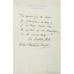 [Literature - Autographs]  S.S. Van Dine, AKA Willard Huntington Wright, Art Critic, Autograph Quotation Signed