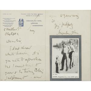 [Art - Artist Autograph Letter Signed]  Augustus John, Welsh Artist, ALS , Undated but ca.