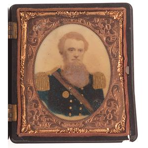 Civil War Sixth Plate Portrait of an Officer on Porcelain