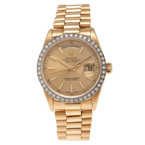 Rolex Oyster Perpetual Day Date President in 18 Karat Yellow Gold with Diamond Bezel