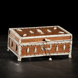 Greenland Inuit Decorated Wood Trinket Box