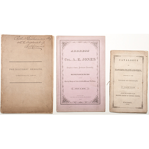 Three Pamphlets Printed in Cincinnati, Local History and Botany