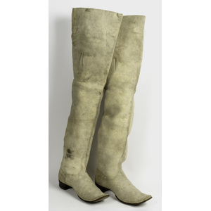 Mid-19th Century White Buckskin Cavalier Style Riding Boots