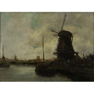 Continental Windmill Scene