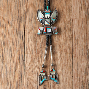 Roy Laht (Zuni, 20th century) Inlaid Knifewing Bolo Tie with Matching Tips