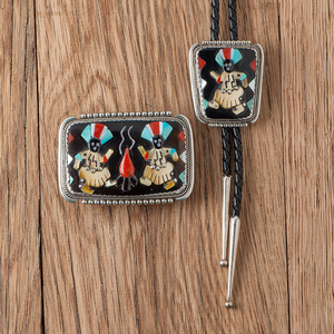 Beverly Etsate (Zuni, 20th century) Bolo Tie and Buckle with Raised Inlay Figures