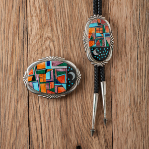 Frank Yellowhorse (Dine, 20th century) Inlaid Sterling Silver Bolo Tie and Buckle Set with Night Scene