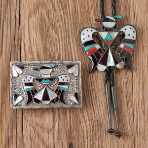 Bobby & Corraine Shack (Zuni, 20th century) Elaborately Inlaid Thunderbird Bolo Tie and Buckle