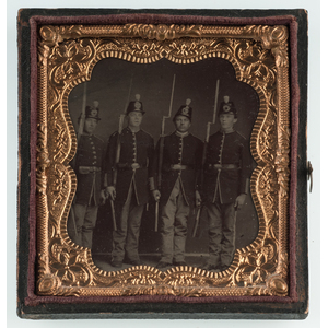 Sixth Plate Tintype of Civil War-Era Infantrymen Standing with their Rifles