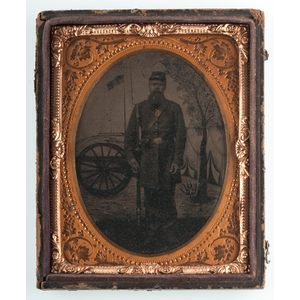 Quarter Plate Tintypes of Armed Union Soldiers with Patriotic Backdrops
