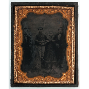 Sixth and Quarter Plate Tintype Group Portraits Featuring Soldiers