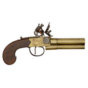 English Three-Barrel Tap Action Pistol by Twigg