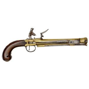 Brass Blunderbuss Flintlock Pistol with Folding Bayonet by Grice, London
