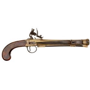 Brass Blunderbuss Flintlock Pistol with Folding Bayonet by Grice