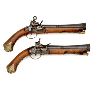 Pair of Spanish Miquelet Lock Blunderbuss Cannon-Barrel Pistols by Carbonell