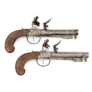 Pair of French Elliptical Bore Flintlock Blunderbuss Pistols with Folding Bayonets, Marked Rainkin