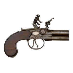 English Four-Barrel Tap Action Flintlock Pistol by Brander & Potts