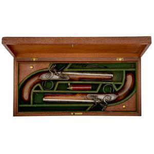 Cased Pair of Irish Flintlock Dueling Pistols by Pattison