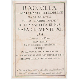 Engravings from Raccolta di Statue Antiche e Moderne by Dominico de Rossi