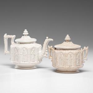 White Salt-Glazed Stoneware Apostle Teapot and Sugar