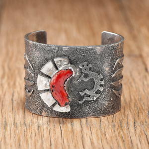 Hopi Cast Silver Cuff with Coral