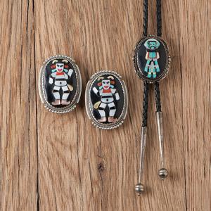 Beverly Etsate (Zuni, 20th centuyr) Raised Mosaic Inlay Koshari Earrings and Bolo Tie