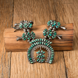 Navajo Silver and Turquoise Cluster Squash Blossom Necklace