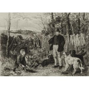 English Hunting Scene Engraving