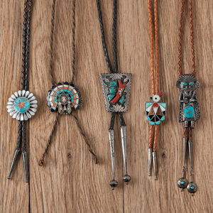 Navajo Silver and Turquoise Old Style Bolo Ties