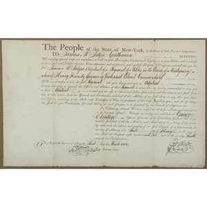 George Clinton, New York, Signed Militia Commission for James McIntyre, 1802