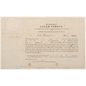 Caleb Strong, Massachusetts, Signed Militia Commission for John Howard, 1813