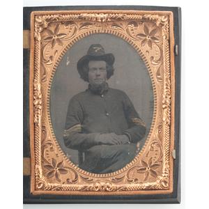 Quarter Plate Tintype of Union Cavalry Sergeant