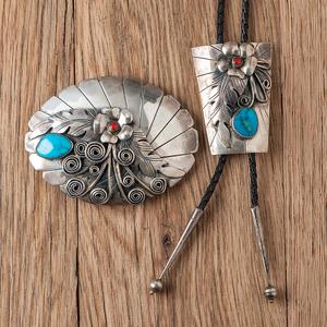 Michael Kabotie (Hopi, 1942 - 2009) Silver Applique Buckle and Bolo Tie