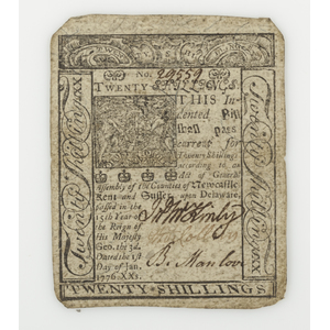 Colonial Currency, January 1, 1776, Twenty Shilling Delaware Note