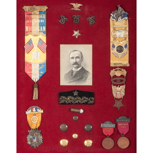 Brevet Brigadier General James H. Kidd, 6th Michigan Cavalry, Exceptional Collection Featuring Custer 14K Gold Tiffany Badge, GAR Medals, Sword, & Painted Escutcheon