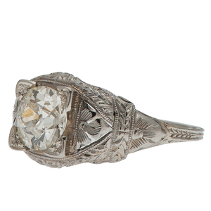 Diamond Filigree Ring in 18 Karat White Gold