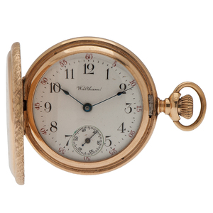 Waltham Hunter Case Pocket Watch in 14 Karat Yellow Gold