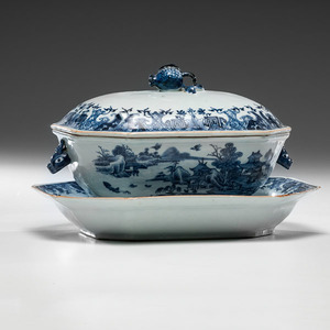 Chinese Export Blue & White Tureen with Undertray