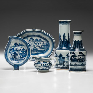 Chinese Export Canton Ewers and Dishes