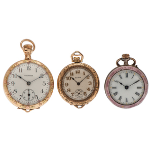 A Trio of Open Face Pocket Watches