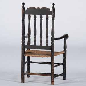 New England William and Mary Banister Back Armchair