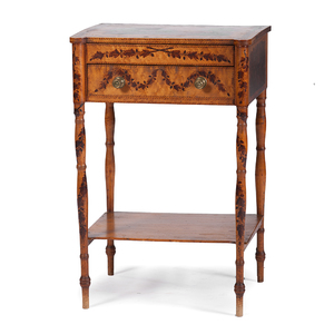 New England Federal Schoolgirl-Decorated Sewing Table