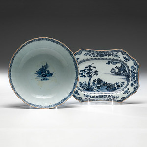 Early Chinese Export Tray and Scalloped Punch Bowl