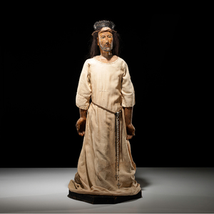 New Mexican Polychrome Carved Wood Bulto, Jesus Nazareno