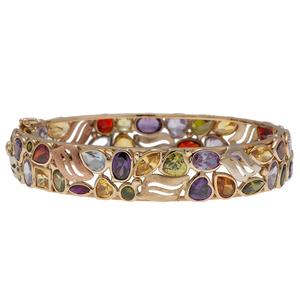 Multi Color Gemstone Bracelet in 14 Karat Yellow Gold