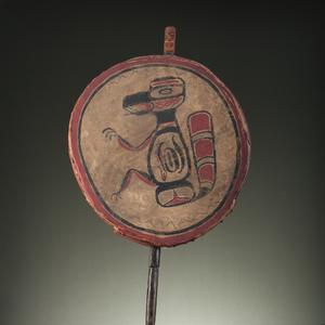 Northwest Coast Painted Hide Drum with Carved Handle