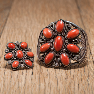 Tony Guerro (Dine, d. 1993) Silver and Coral Cluster Bracelet and Ring