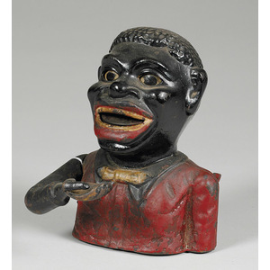 Shepard Cast Iron Jolly Black Man Mechanical Bank,